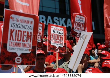 Confederation of Progressive Trade Unions of Turkey's members are in action against 	seniority indemnity's removal.16th June 2017, ISTANBUL, TURKEY.