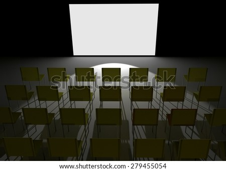 Conference hall like cinema with blank white screen - stock photo