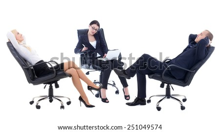 conference or meeting in office -three business persons sitting on office chairs isolated on white background - stock photo