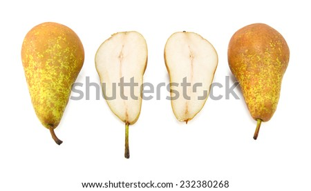 Conference pears - two whole, one cut in half, isolated on a white background - stock photo