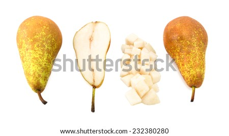 Conference pears - whole, halved and diced, isolated on a white background - stock photo