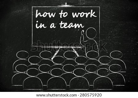 conference, presentation, or school class with lecturer depicting how to work in a team - stock photo