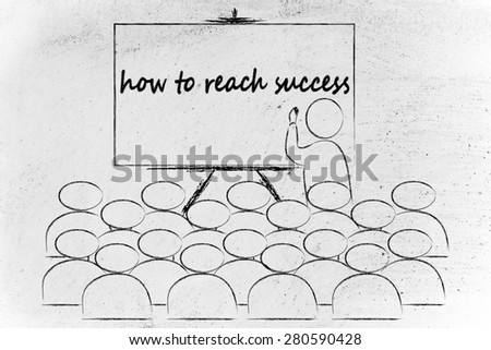 conference, presentation, or school class with lecturer depicting the way to success - stock photo