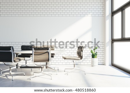 office wall tiles. Conference Room In Modern Office With White Tiles And Chalkboard For Drawings On Wall. Vintage Wall