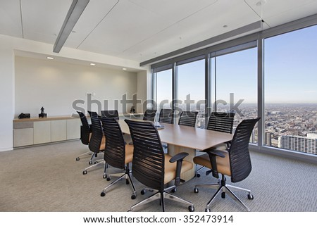 Conference room in office building with large table