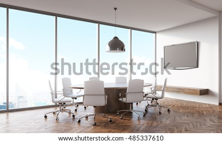 Conference room interior with panoramic city view with round table, white armchairs and tv set on white wall. Concept of board meeting. 3d rendering. Mock up