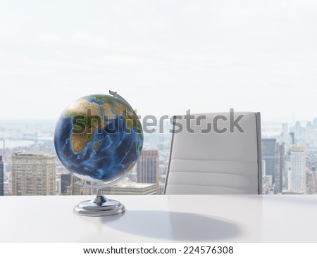 Conference room. Modern office with windows and city view.  Elements of this image furnished by NASA - stock photo