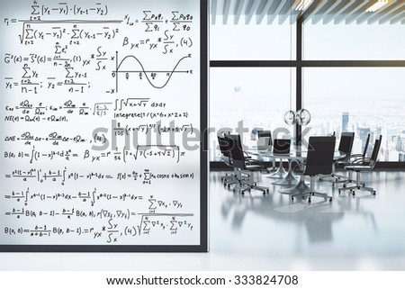 Conference room with furniture and equation wall concept 3D Render - stock photo