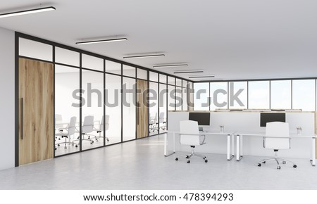 Conference Room With Glass Walls And Office With Cubicles And Computers On  White Tables. Concept