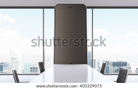 Conference room with huge blank phone screen and NYC view. Mock up, 3D Rendering