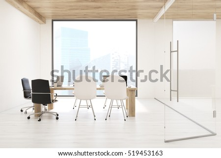 Conference Room Large Square Window Galss Stock Illustration - Square conference room table