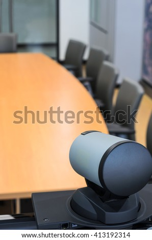 conference room with video conference equipment - stock photo
