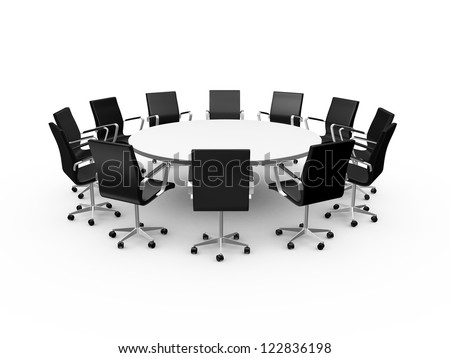 Conference round table and black office chairs in meeting room, isolated on white background. - stock photo