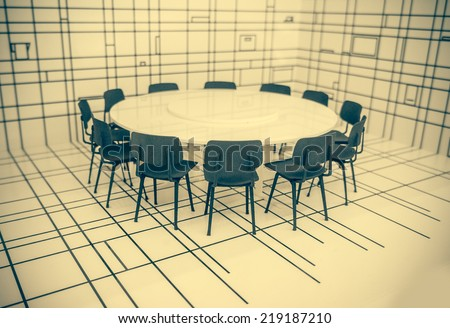 Conference round table and black office chairs in meeting room. Toned picture