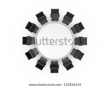 Conference round table and black office chairs in meeting room, top view, isolated on white background. - stock photo