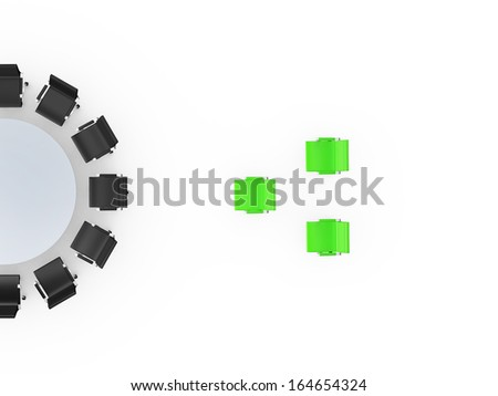 Conference round table and office chairs with standing out group in meeting room, isolated on white background. - stock photo