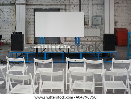 Conference space in old factory - stock photo