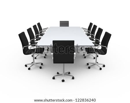 Conference table and black office chairs in meeting room, isolated on white background. - stock photo