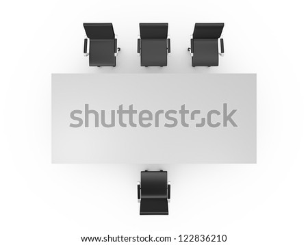 Conference table and black office chairs in meeting room, top view, isolated on white background. - stock photo