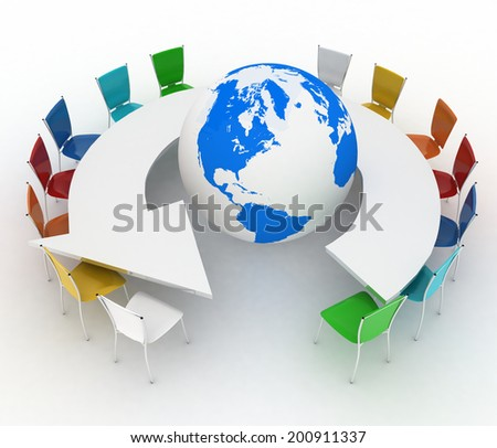 Conference table as an arrow with globe. Concept of global politics, diplomacy, environment, world leadership. 3d illustration.