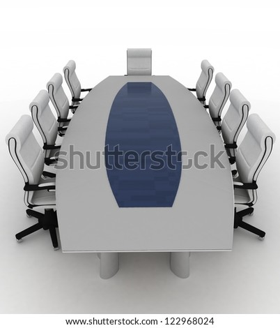 Conference Table with empty chairs for modern office. - stock photo