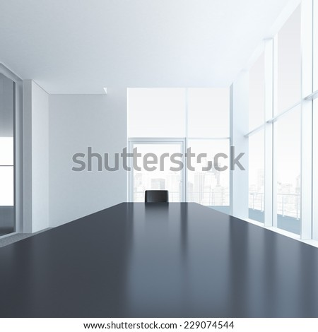 Conference table with one chair - stock photo