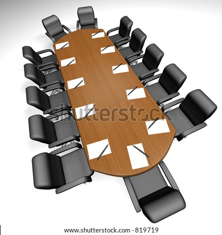 Conference table with papers and pens - 3d render