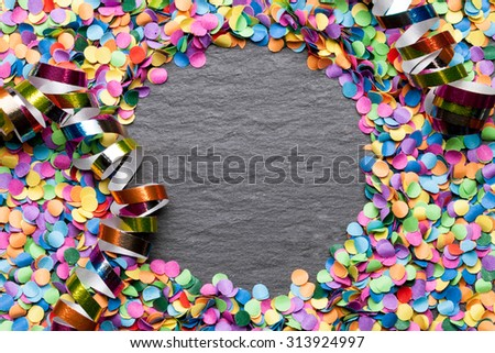 confetti colorful background with blackboard