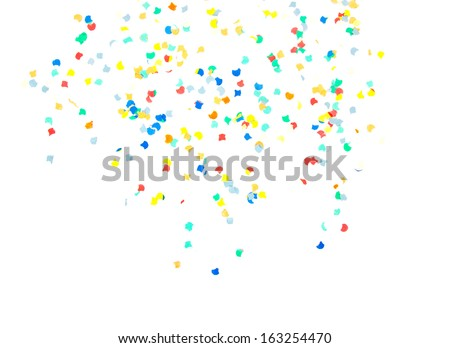 Confetti falling from top. All on white background. - stock photo