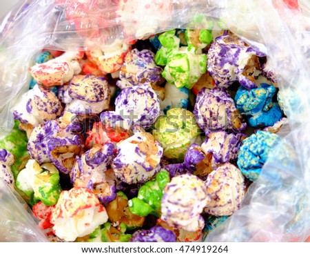 Confetti kettle corn displaying bright colors.