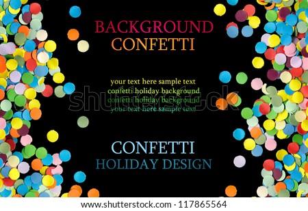 confetti on black background - stock photo