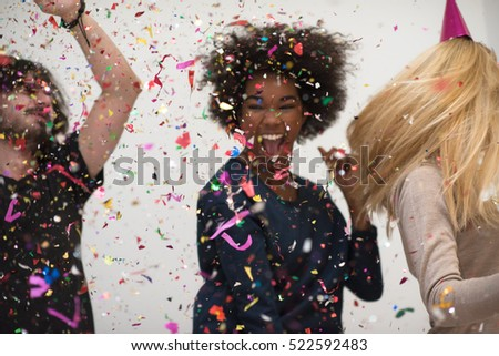 confetti party happy young people group celebrating new year eve while dancing and have fun at home