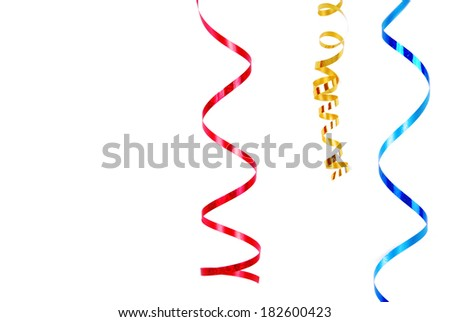 confetti serpentine ribbon border frame  isolated on white