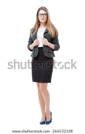 Confidence and beauty. Full length of young businesswoman holding hands on jacket and looking at camera isolated on white background - stock photo