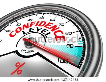 confidence level conceptual meter indicating hudrend per cent. isolated on white background - stock photo