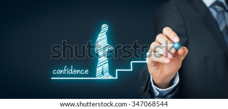 Confidence (self-confidence) improvement concept. Coach or mentor draws stairs as symbol of help to increase confidence. - stock photo