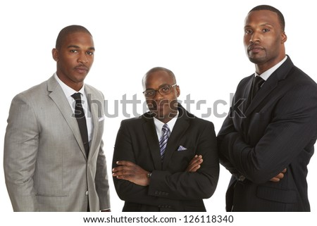 Confident African American Business Team isolated on white background. - stock photo