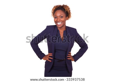 Confident African American business woman, isolated on white background