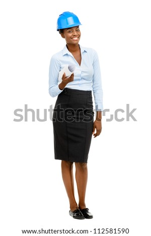 Confident African American woman architect full length portrait isolated on white background
