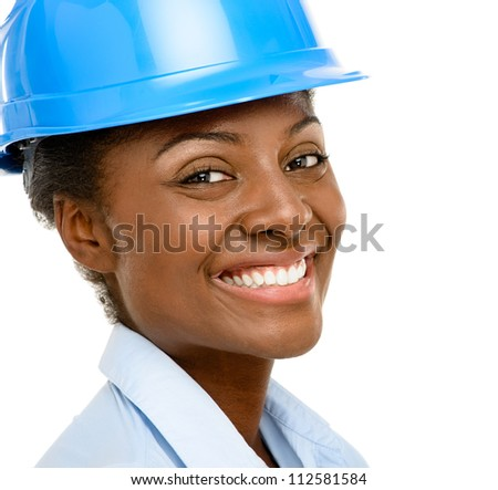 Confident African American woman architect smiling close-up isolated on white backgound