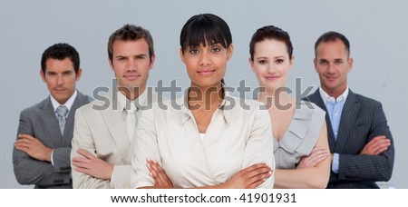 Confident Afro-American young businesswoman leading her team