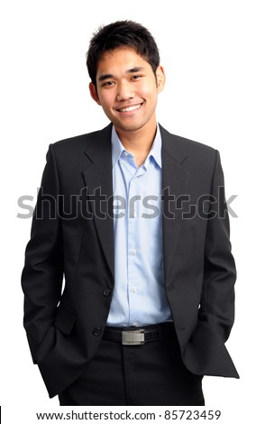 confident and friendly business man portrait - isolated over a white background - stock photo