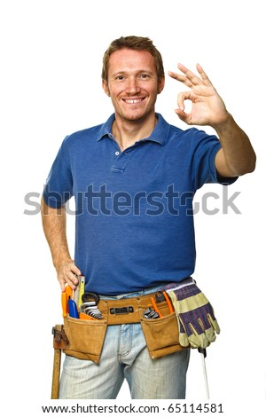 confident and smiling handyman isolated on white - stock photo