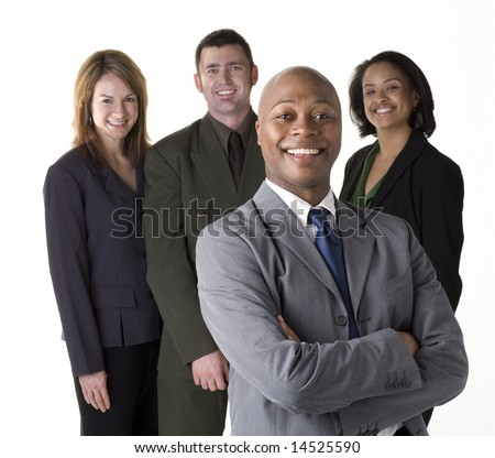 Confident and successful business team