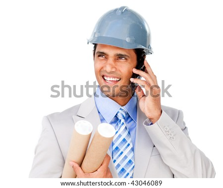 Confident architect on phone carrying blueprints isolated on a white background
