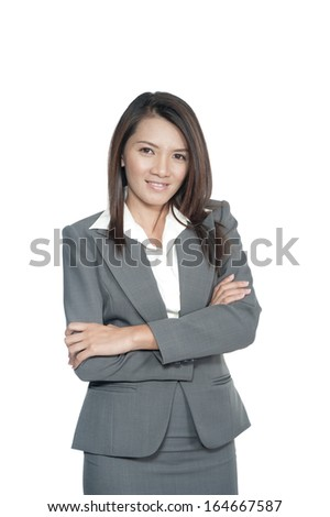 Confident Asian business woman, closeup portrait on white background.