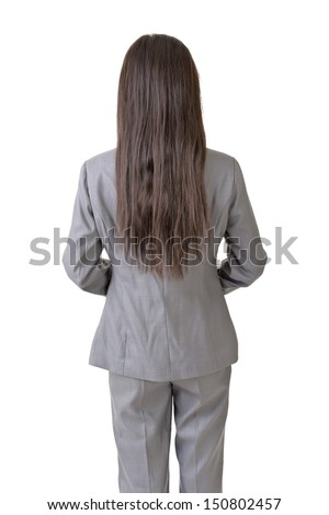 Confident Asian business woman standing back to camera, on the white background