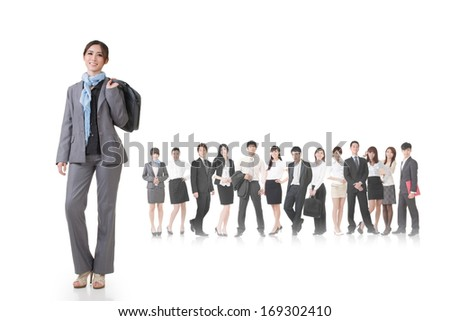Confident Asian businesswoman holding briefcase and stand in front of her team, full length portrait isolated on white background.
