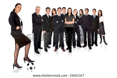 confident asian businesswoman with a business team behind over a white background - stock photo
