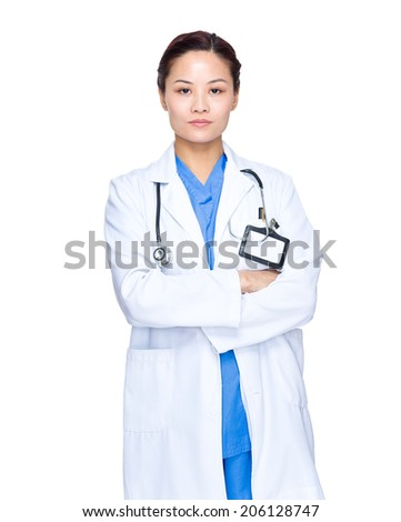 Confident asian female doctor isolated